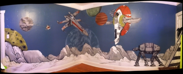 Test artist in tampa star wars mural residence for Autocollant mural star wars